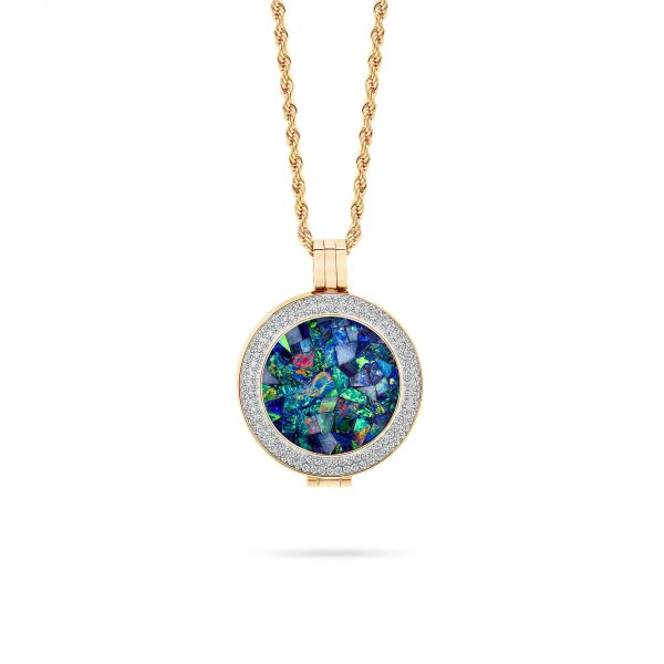 Bijou • Yellow Gold Plated Ocean Opal Locket
