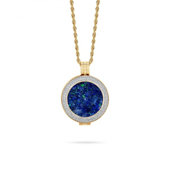Bijou • Yellow Gold Plated Sky Opal Locket