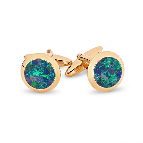 Le Rond • Rose Gold Plated Ocean Opal Cufflinks