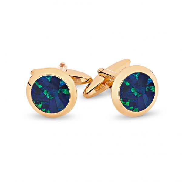 Le Rond • Rose Gold Plated Sky Opal Cufflinks