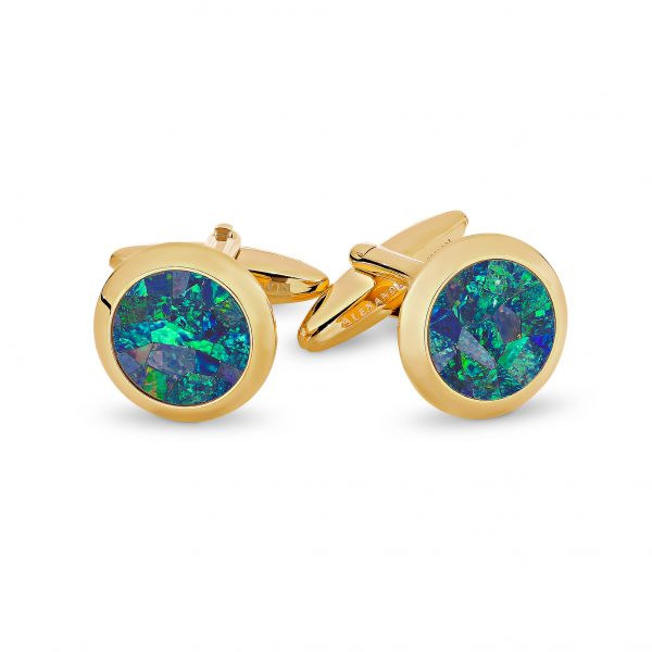 Le Rond • Yellow Gold Plated Ocean Opal Cufflinks
