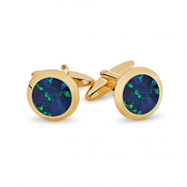 Le Rond • Yellow Gold Plated Sky Opal Cufflinks