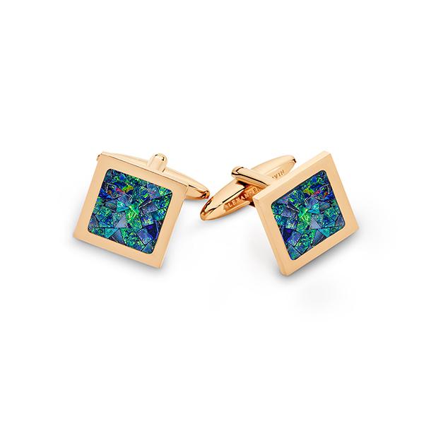 Le Carré • Rose Gold Plated Ocean Opal Cufflinks