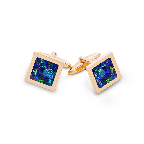 Le Carré • Rose Gold Plated Sky Opal Cufflinks