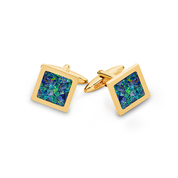 Le Carré • Yellow Gold Plated Ocean Opal Cufflinks