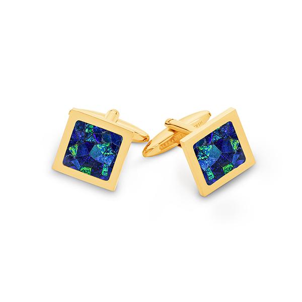 Le Carré • Yellow Gold Plated Sky Opal Cufflinks
