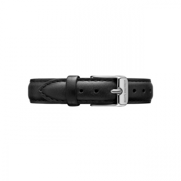 Silver clasp Black leather strap 28mm/32mm