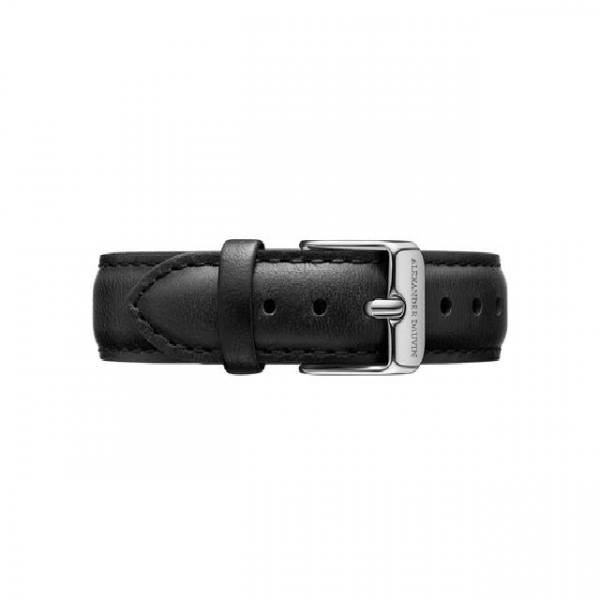 Silver clasp Black leather strap 36mm/40mm