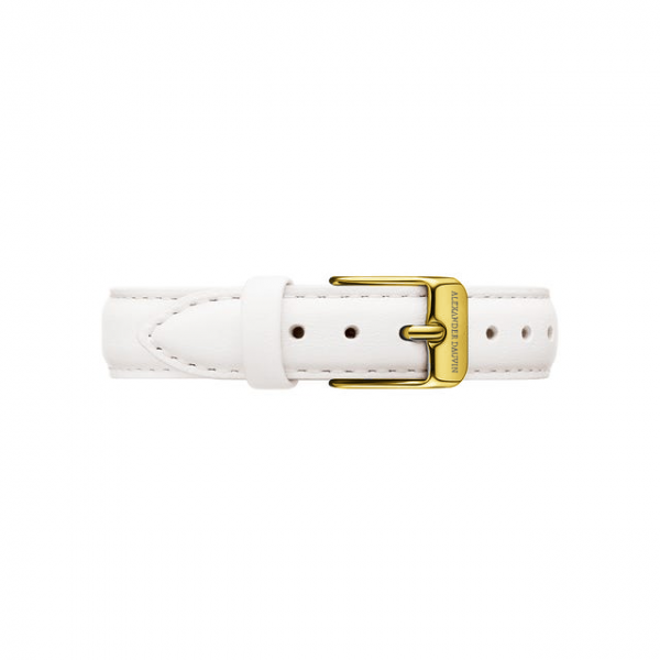Yellow Gold clasp White leather strap 28mm/32mm