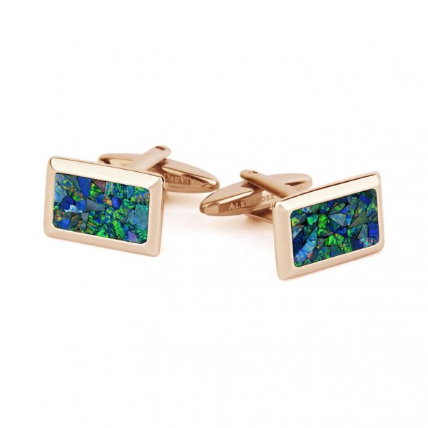 Le Tableau • Rose Gold Plated Ocean Opal Cufflinks
