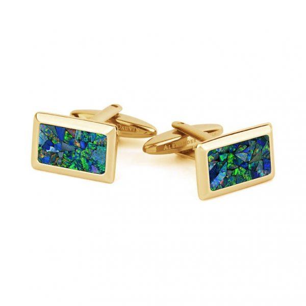Le Tableau • Yellow Gold Plated Ocean Opal Cufflinks